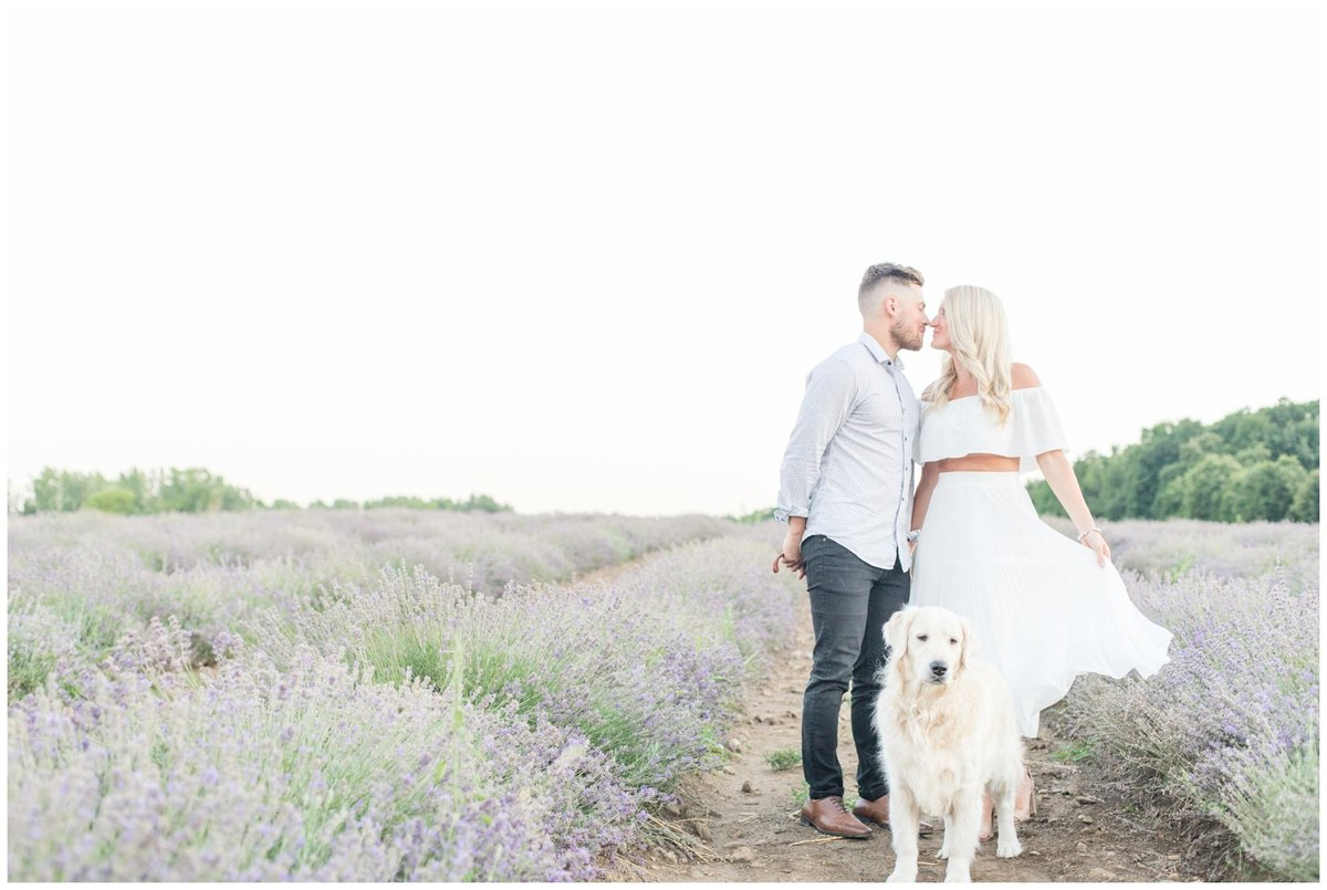 Light-and-Airy-Ottawa-Wedding-Photographer-Romantic-Lavender-Field-Engagement-La-Maison-Lavende-with-Dog