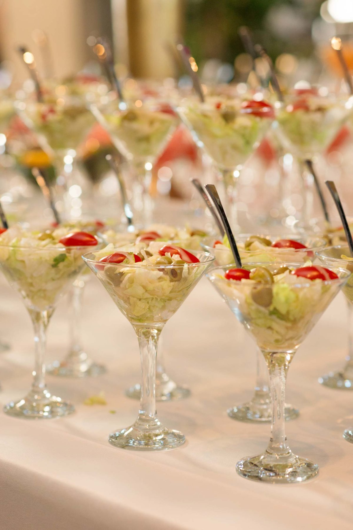 hors d'oeuvres in martini glasses at Hempstead House