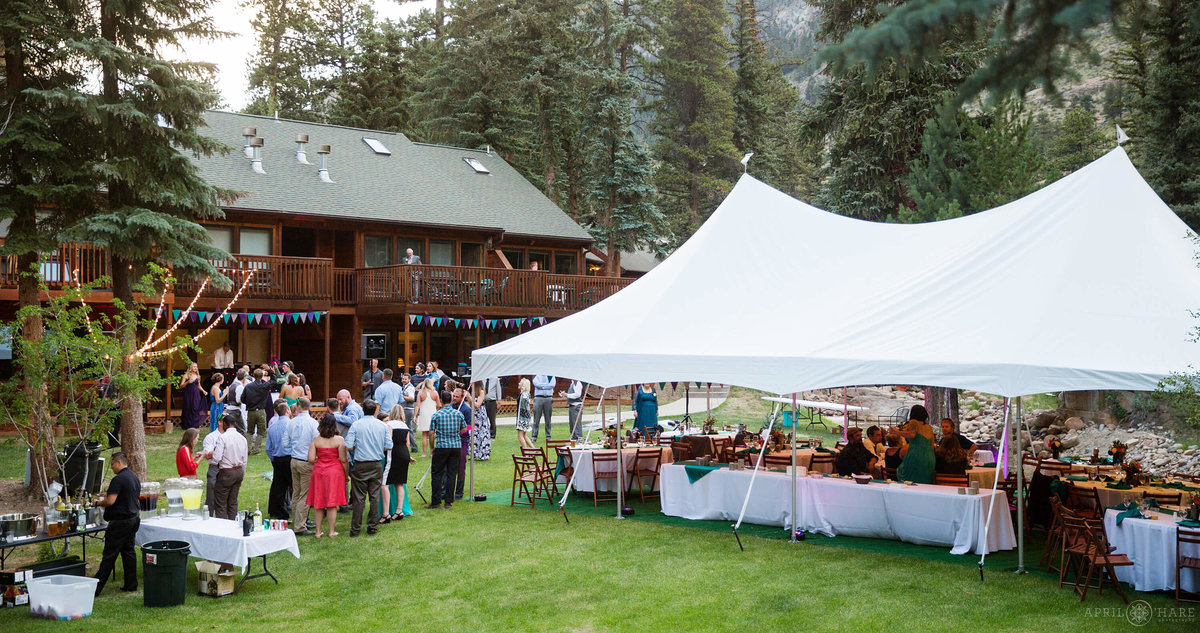 Fall River Estes park Condos tented wedding reception during summer