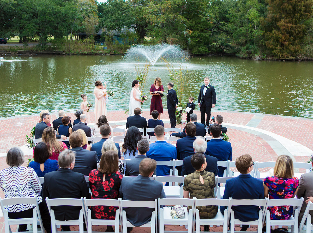 picture from up on Newman Bandstand of wedding ceremony in Audubon Park