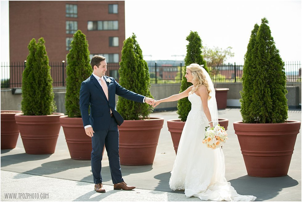 Wedding First Look rooftop Hyatt Baltimore