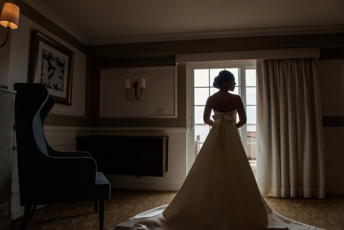 shadowed wedding photo of bride from inside The Garden City Hotel