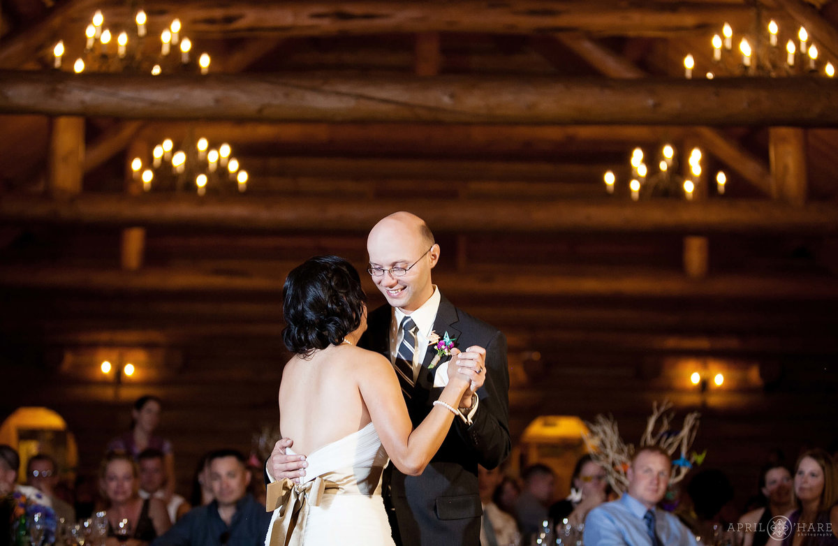 Beautiful wedding first dance photo at Evergreen Lake House in Colorado