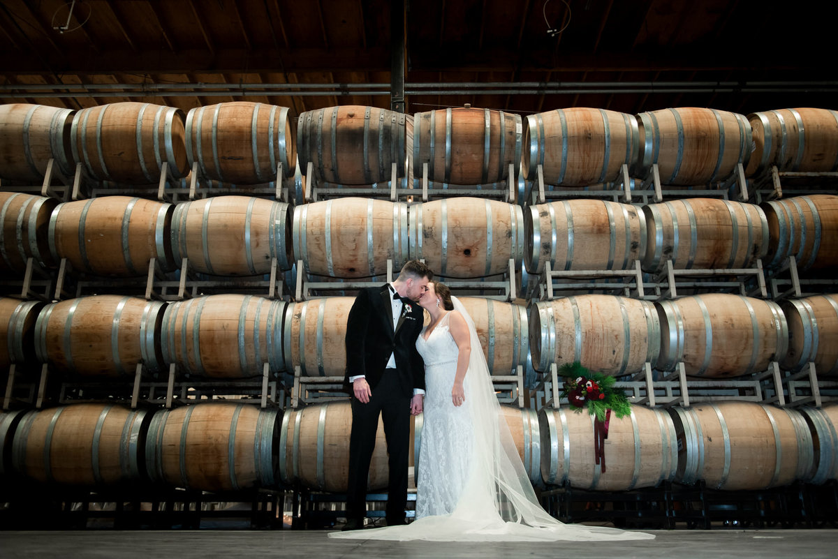 Columbia Winery Barrell Room wedding portrait
