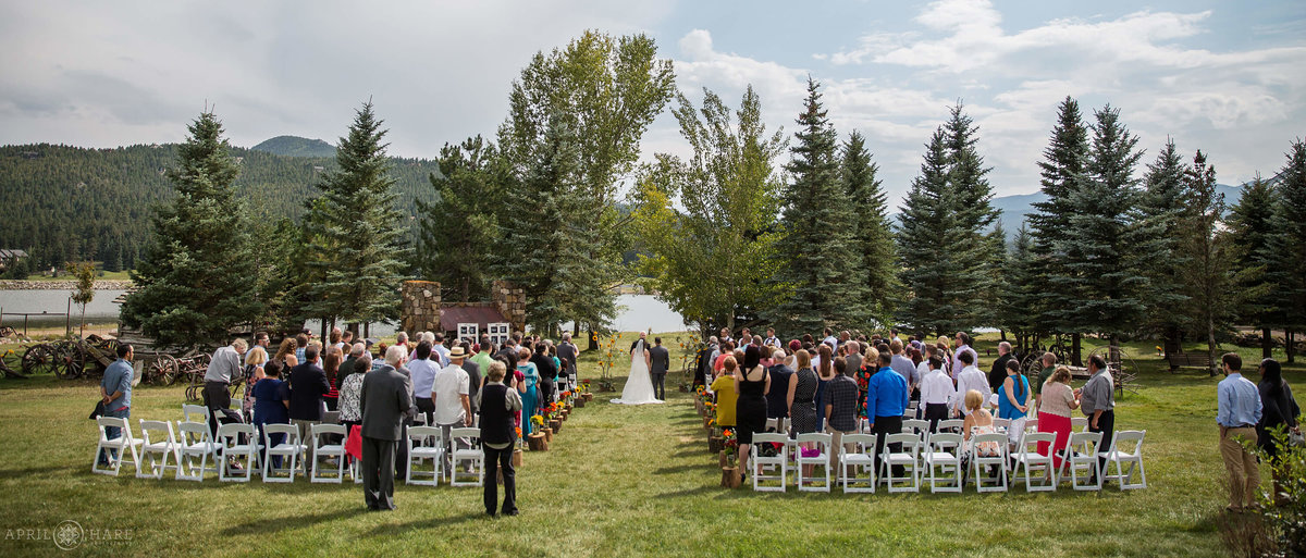 The Barn at Evergreen Memorial Park Fall Wedding Ceremony in Colorado Mountains