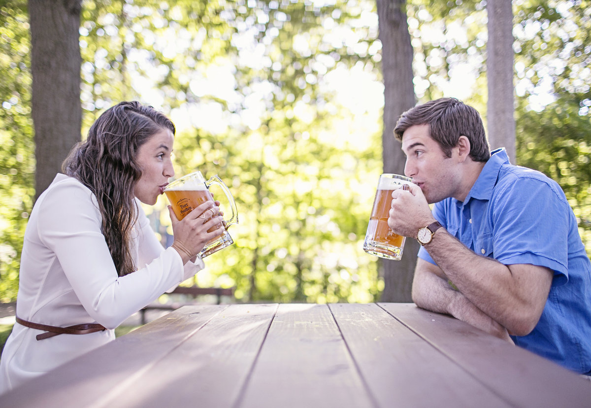 beer garden engagement photos