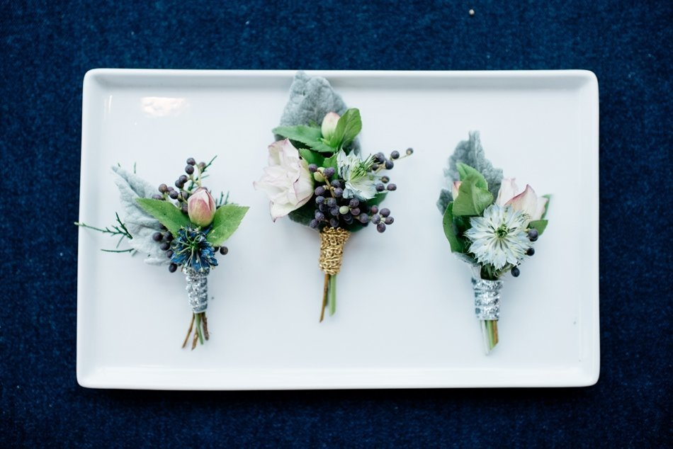 winter wedding boutonnieres blue