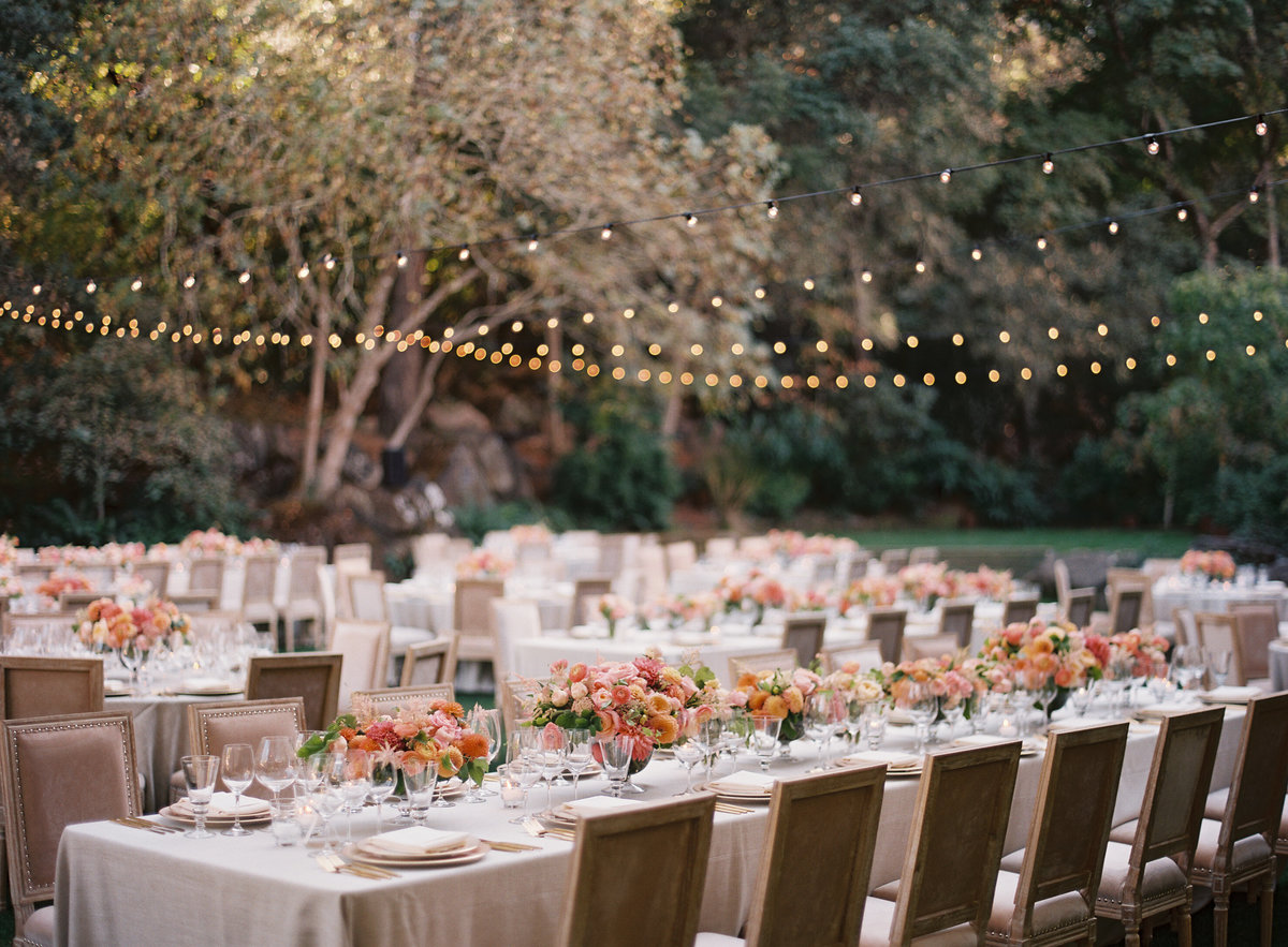 Wedding reception by Jenny Schneider Events at Meadowood luxury resort in Saint Helena in Napa Valley, California. Photo by Eric Kelley Photography.