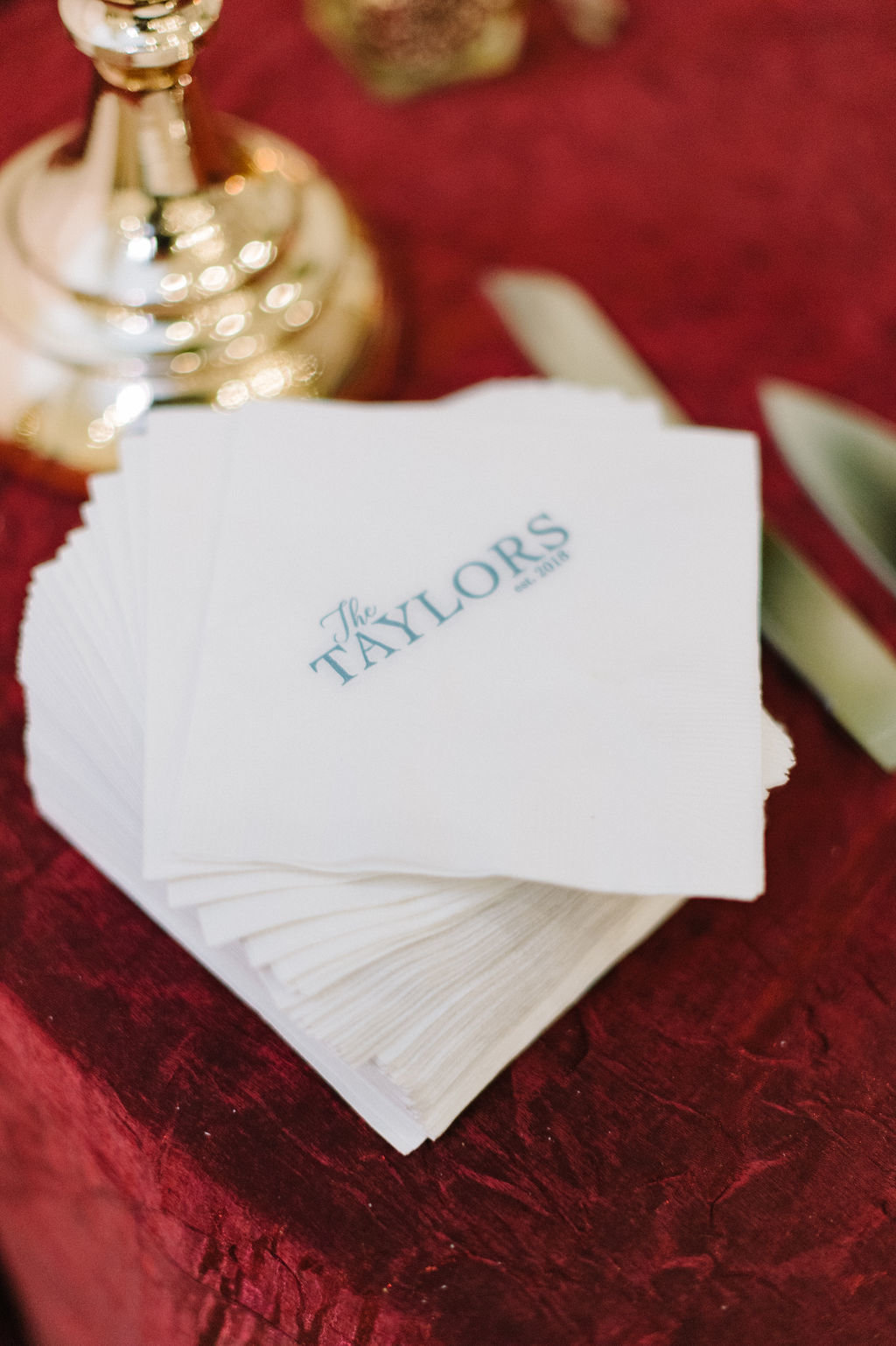Personalized napkins for Arkansas Wedding / Tyler Rosenthal Photography
