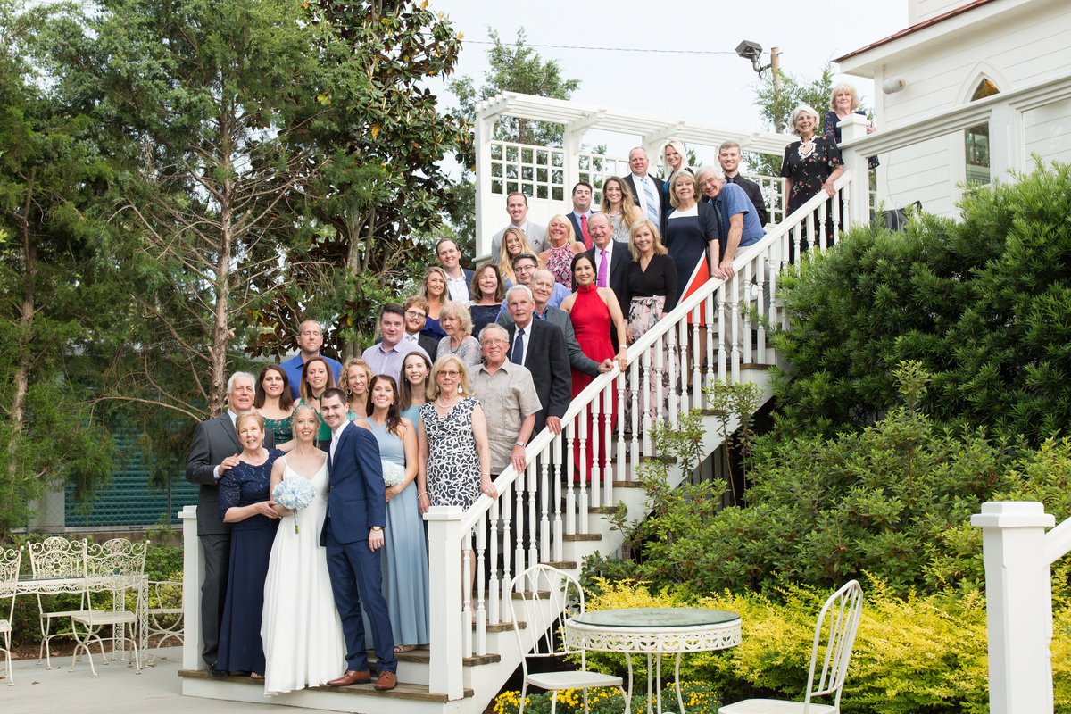 large family after a wedding at tybee chapel