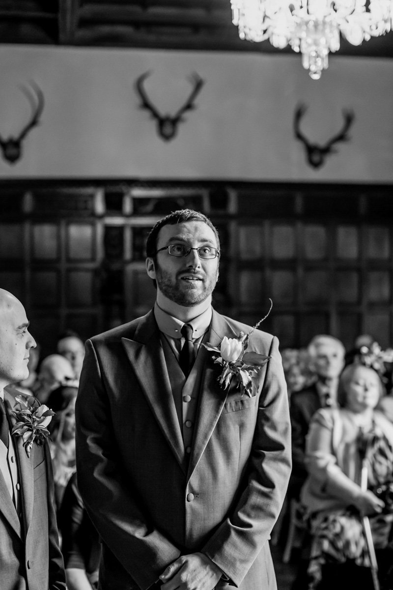 Groom awaiting Bride at Huntsham Court Wedding