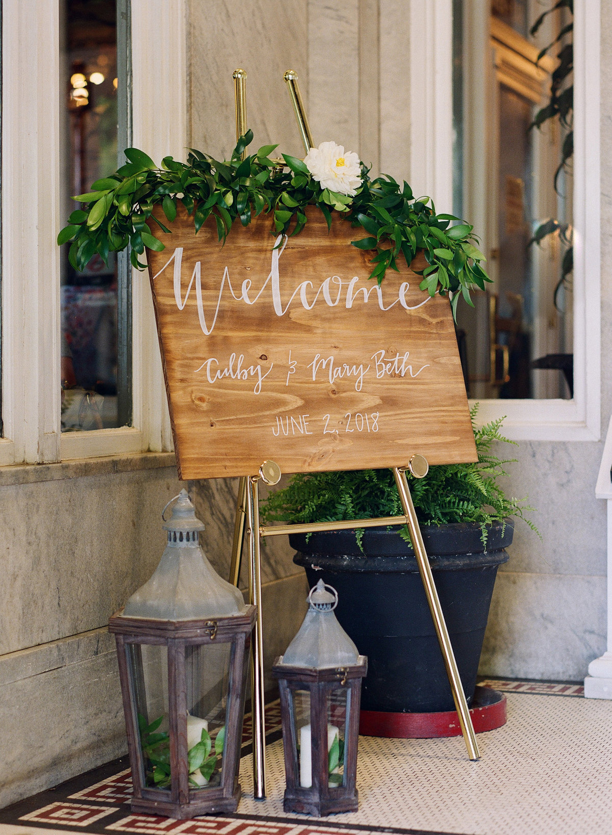 Welcome Sign Geogian Hall Wedding