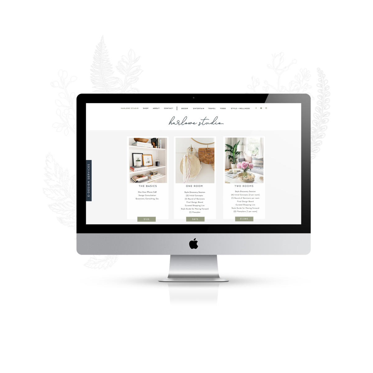 harlowe james interior designer web mockup