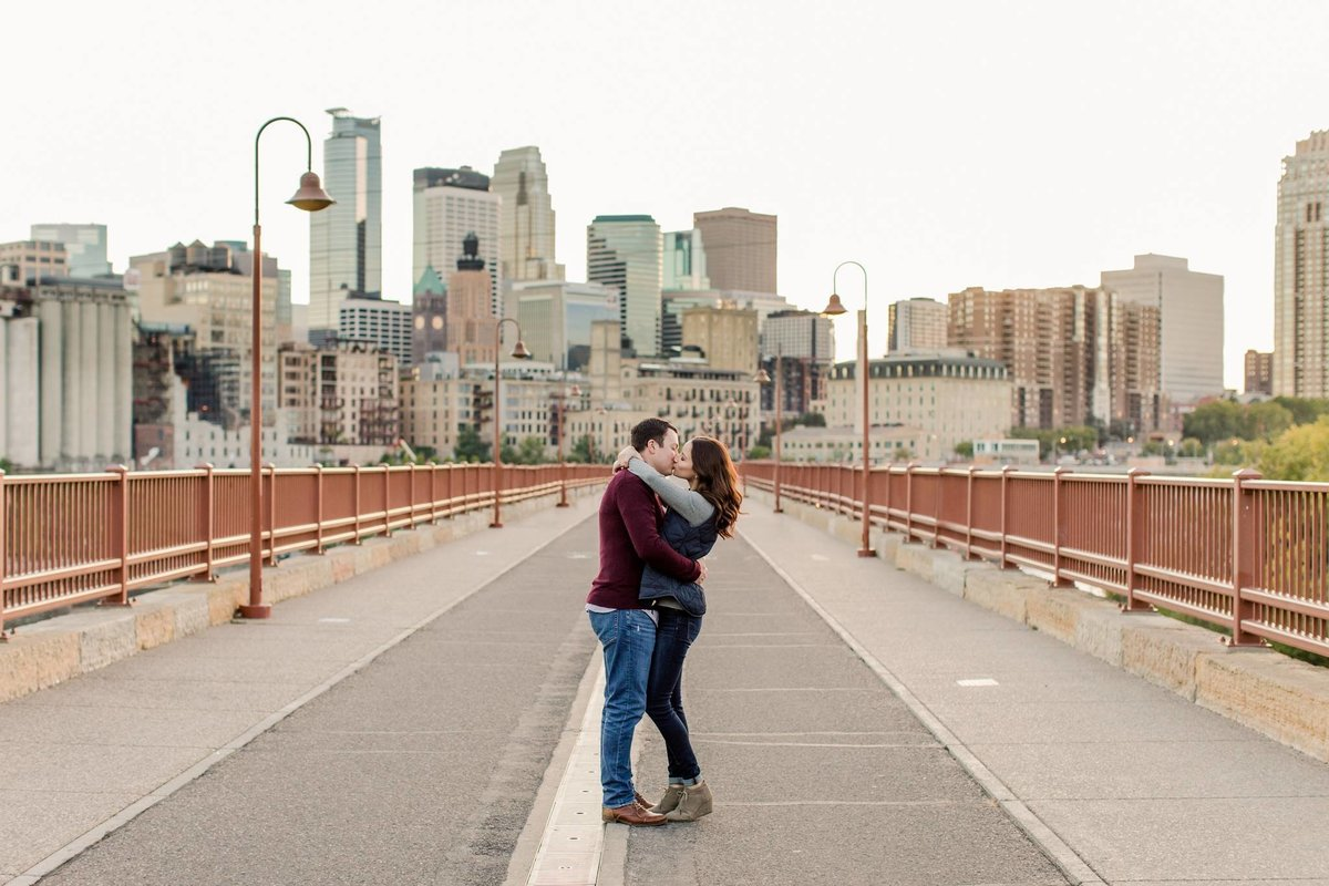 Stone Arch Bridge fall engagement photo