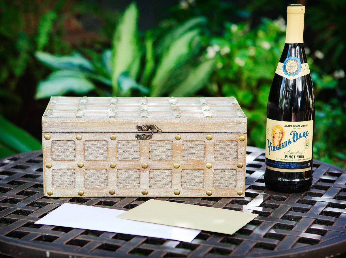 bottle of wine and wedding note box for ceremony at The Terrell House