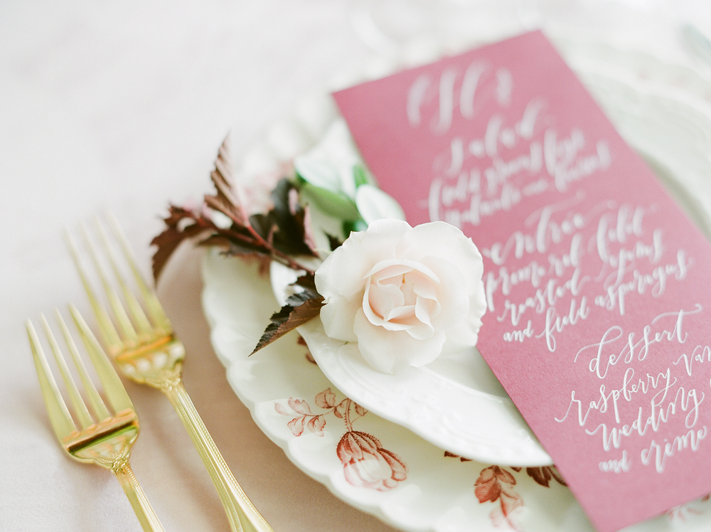Burgundy and Blush Wedding Inspiration Styled Shoot by Kelly Sweet Photography Reception Menu