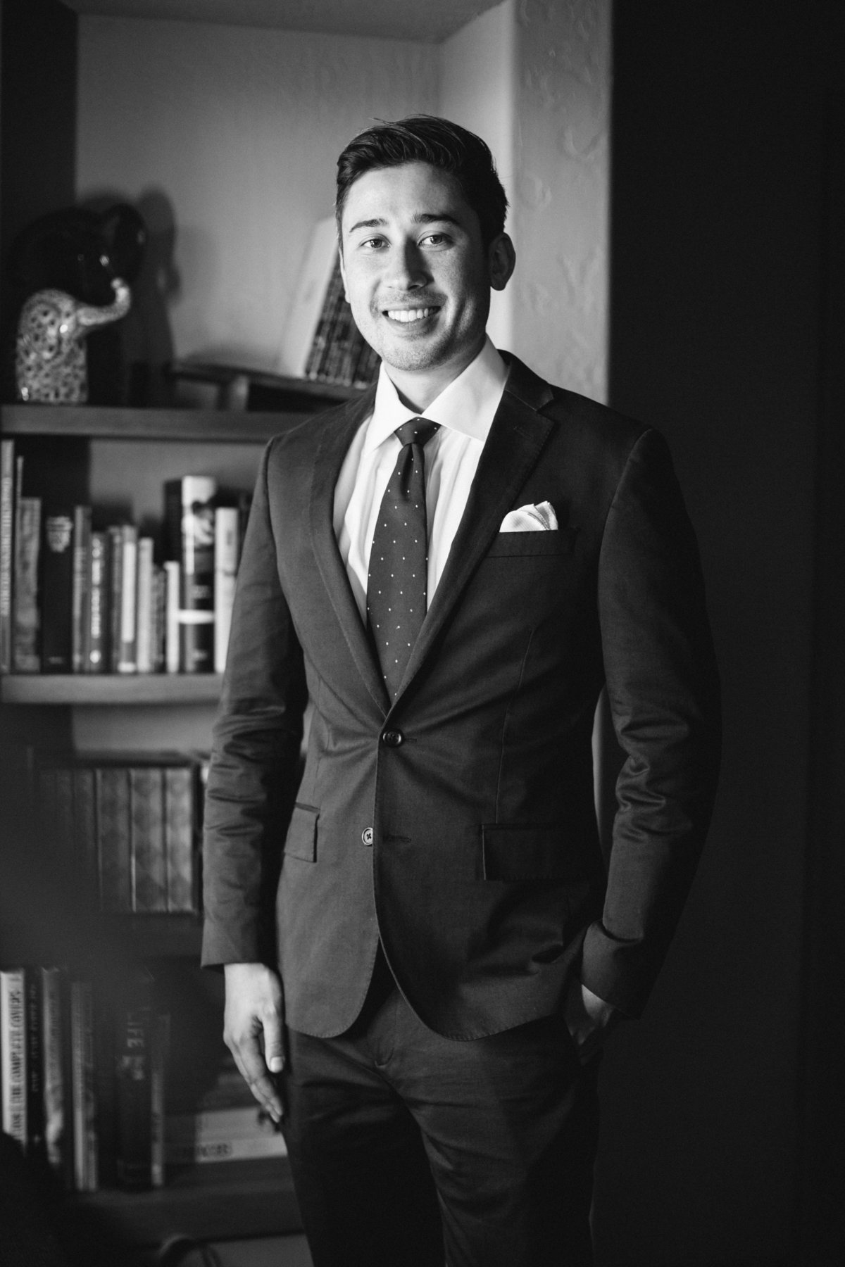 Groom photo in black and white