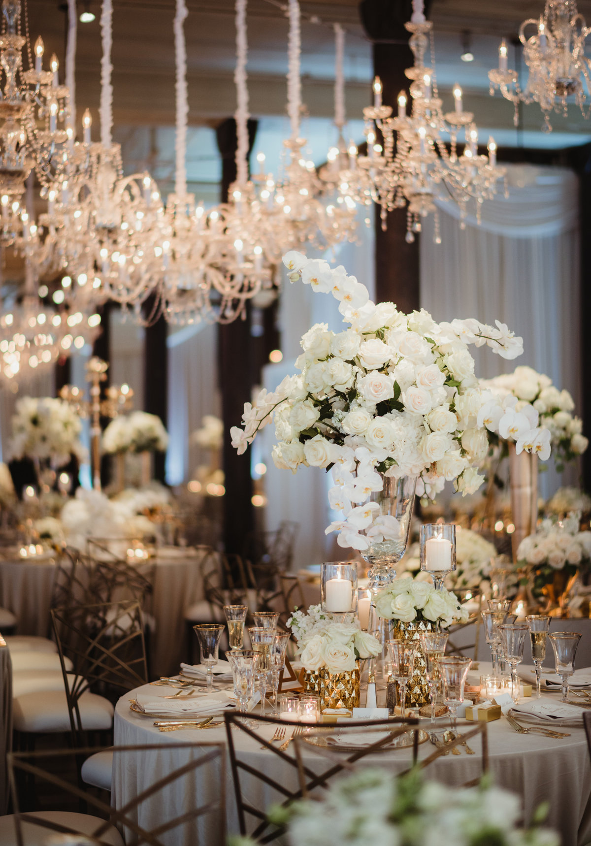 white floral centerpiece, gold chairs, reception decor