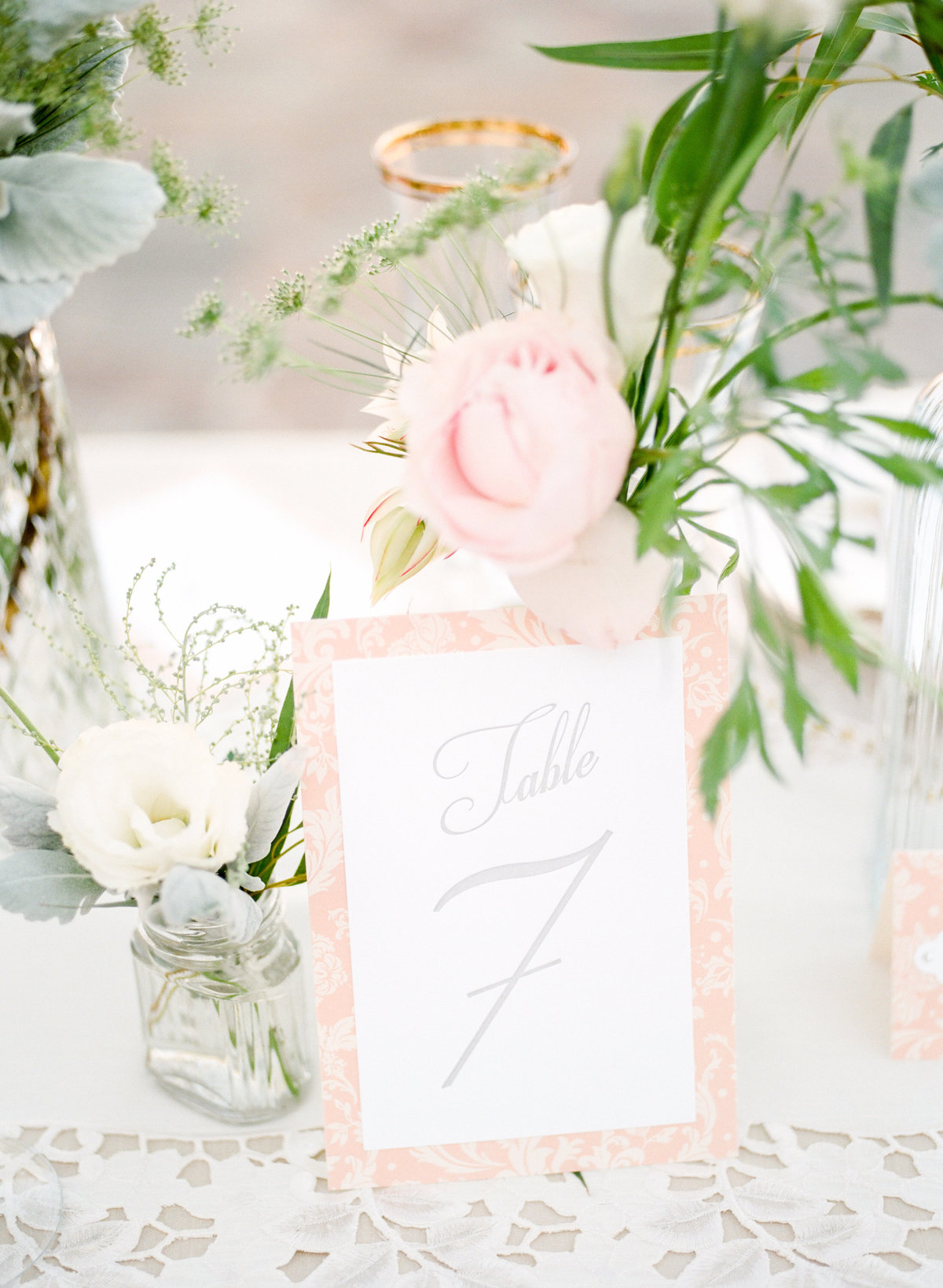 Peach Pink Table Number Card
