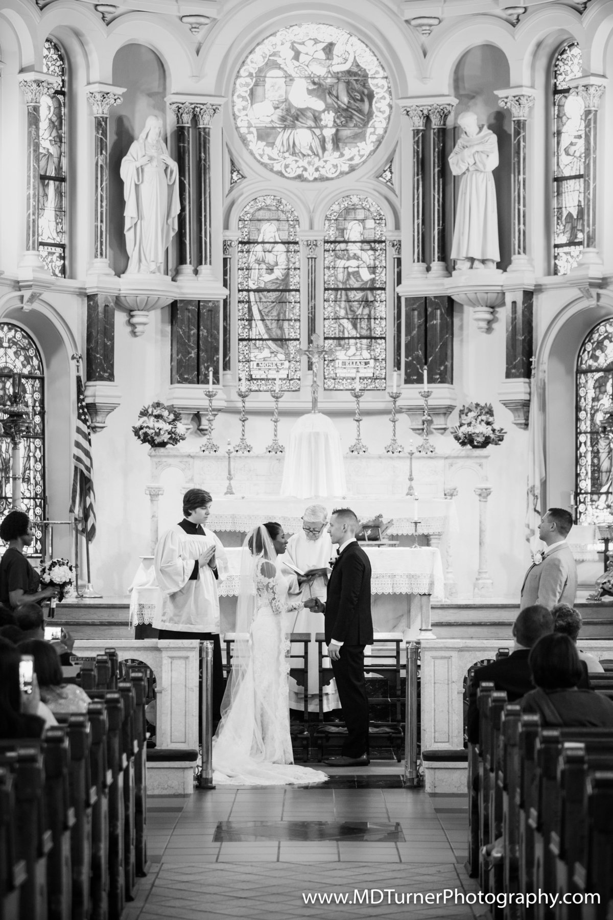 catholic wedding black and white