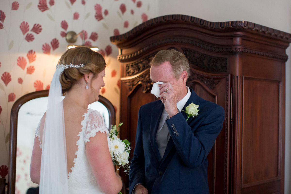 father in tears with bride at haselbury mill