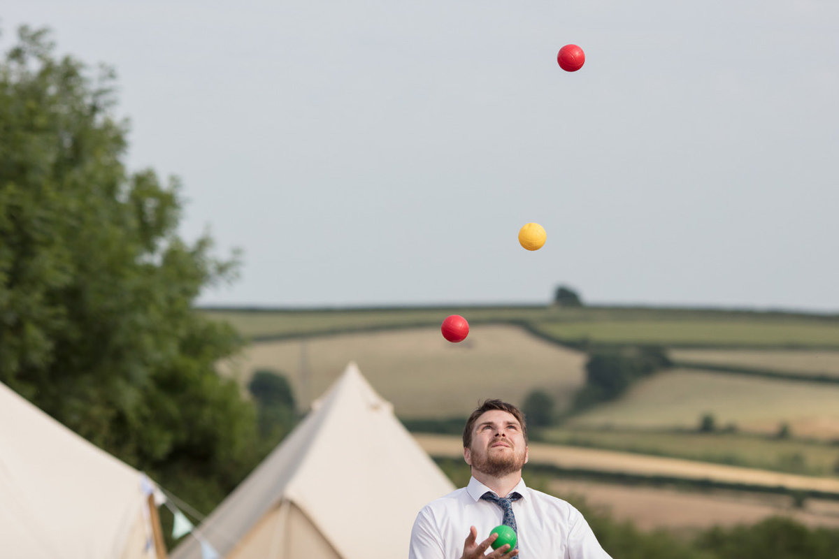 Juggling at Dunwell Farm Wedding in Devon