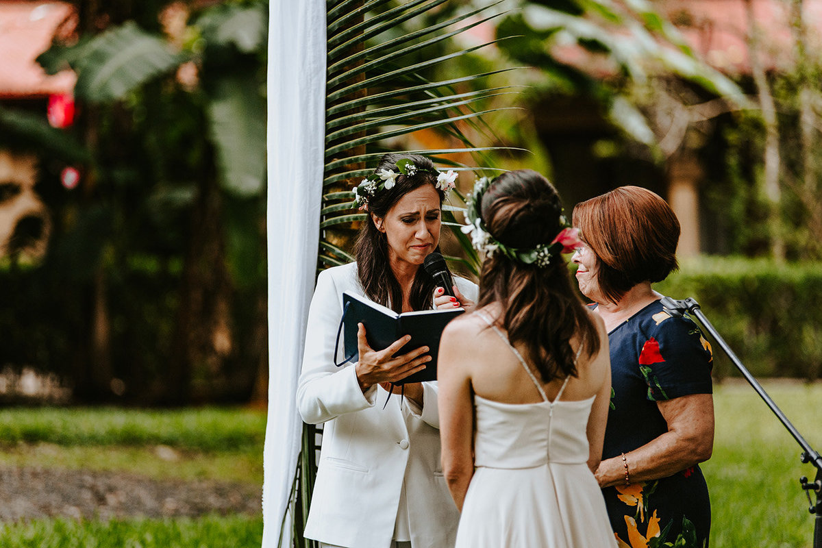 lgbtq couple saying vows in Jaco Costa Rica