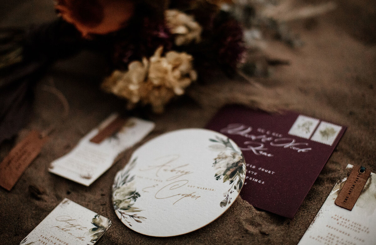 circular wedding stationery