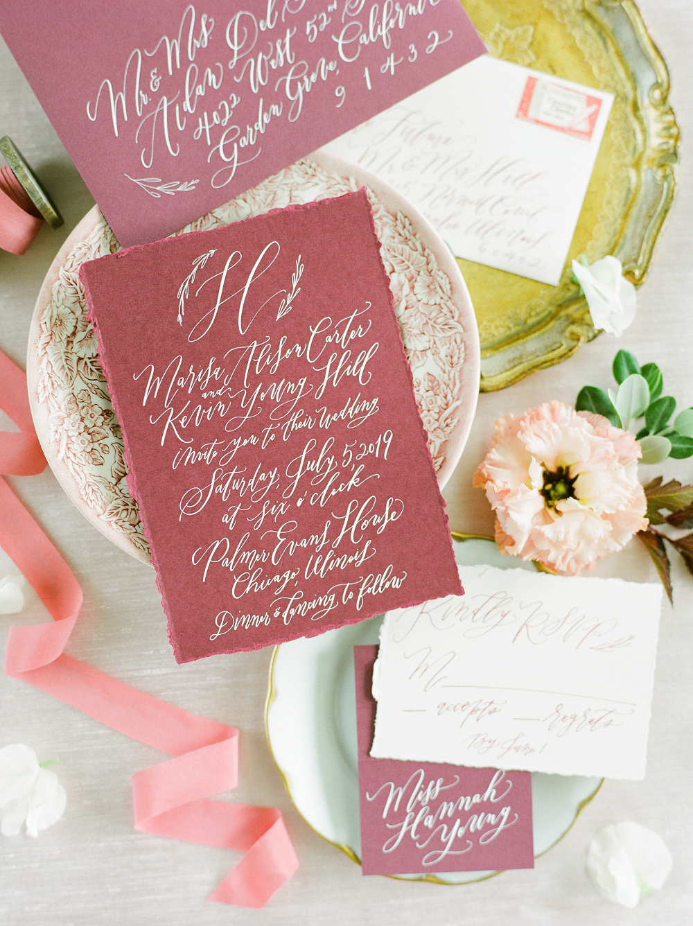Burgundy and Blush Wedding Inspiration Styled Shoot Stationery and Blush Details