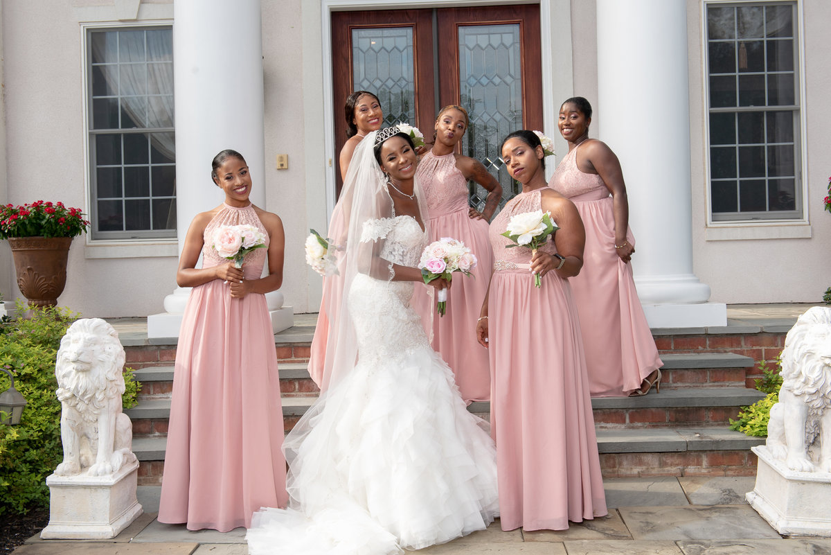 Lace Wedding Gown Pink Bridesmaids dresses