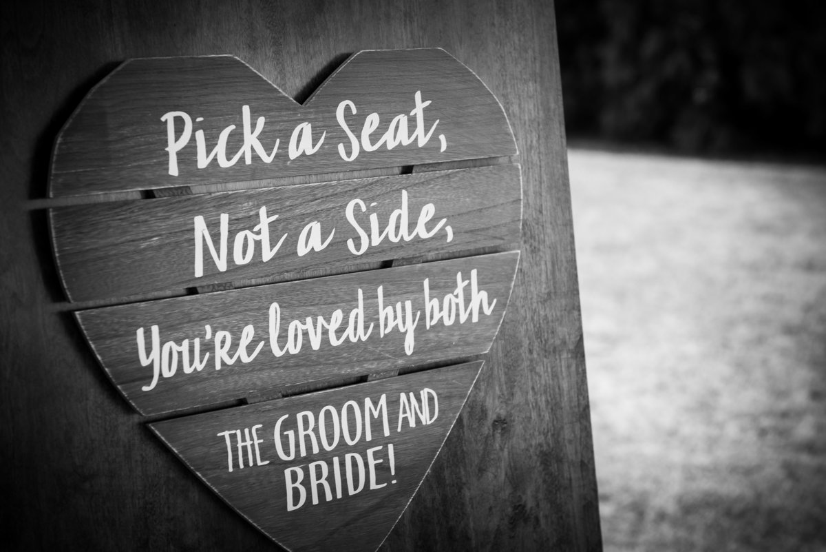 black and white of sign at a wedding