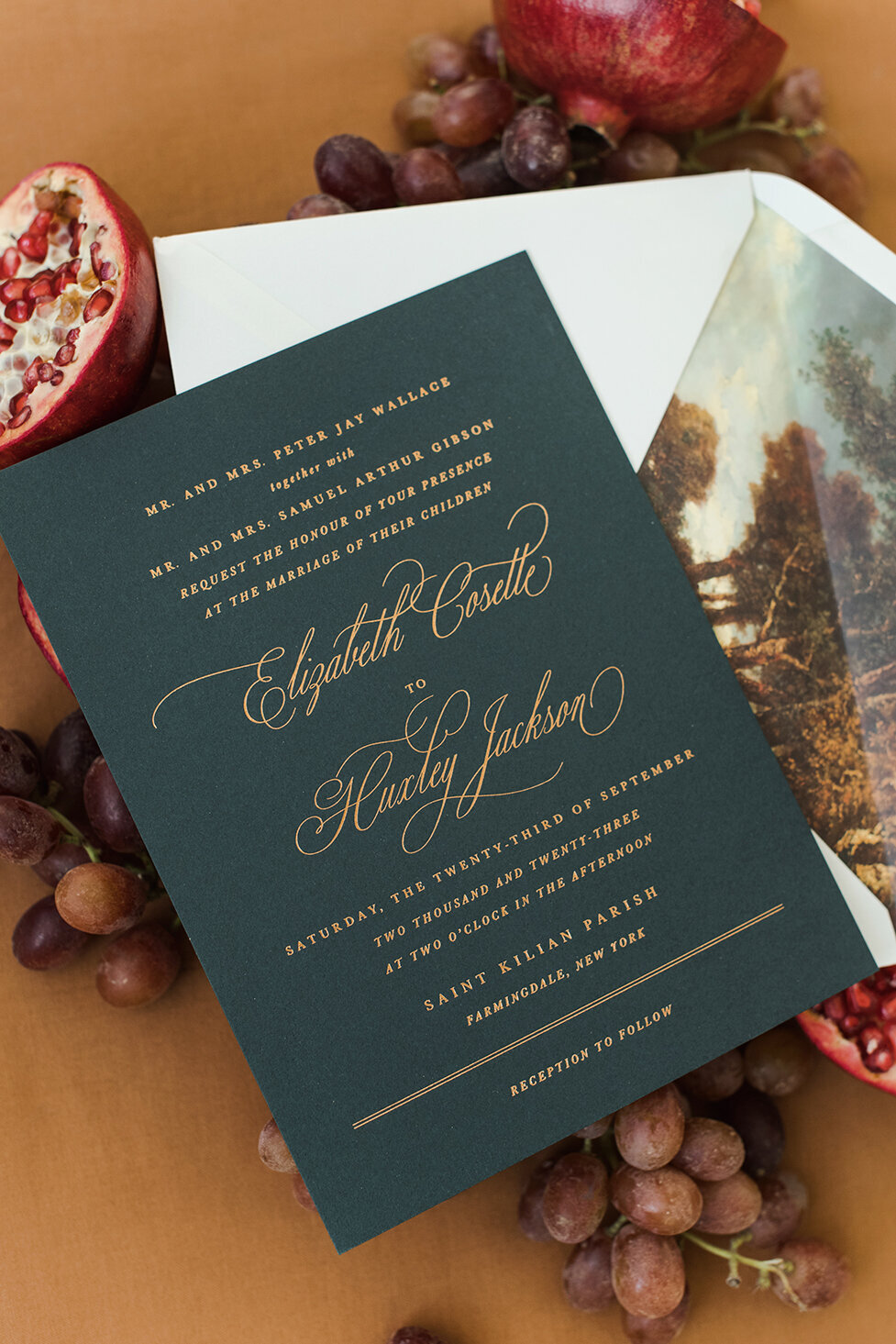 Custom Green and Foil Gold Wedding Invitation | Nikisha King Design