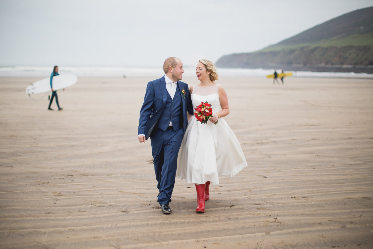 bride and groom saunton sands wedding