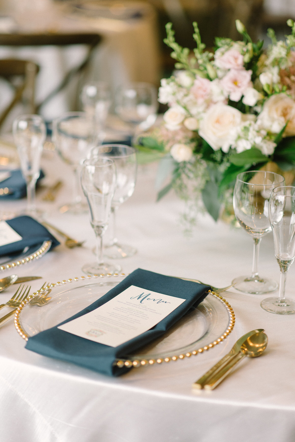 navy and gold wedding, gold flatware