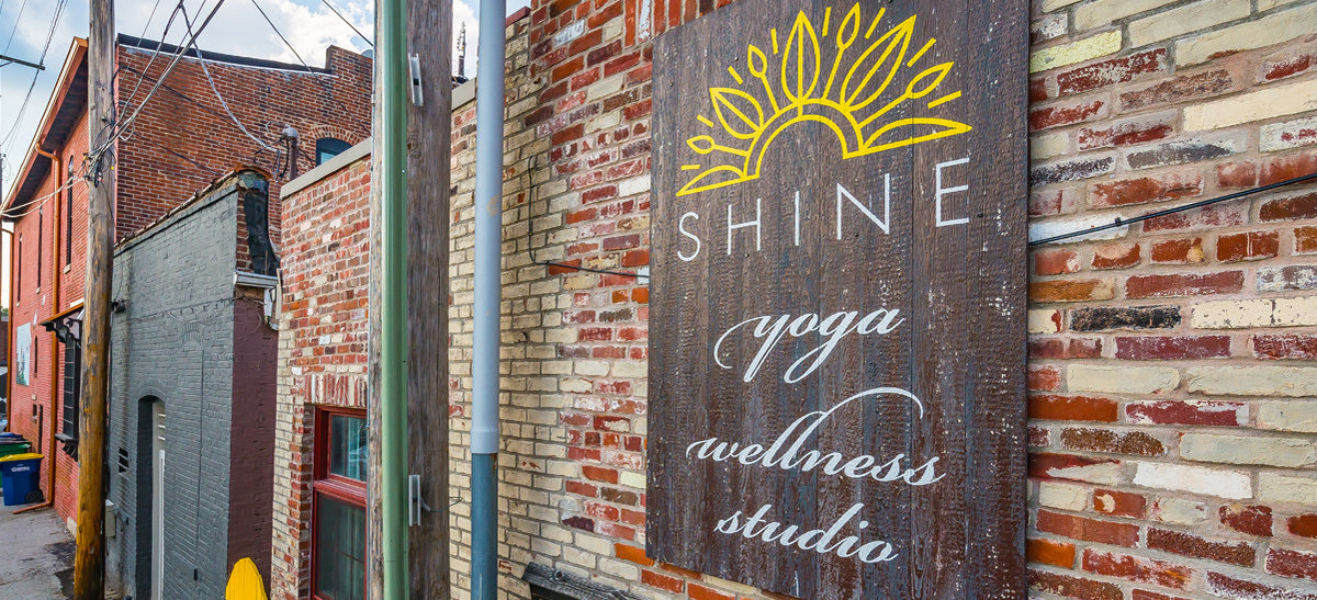 Exterior Signage view of Shine Yoga Wellness designed by KB Design