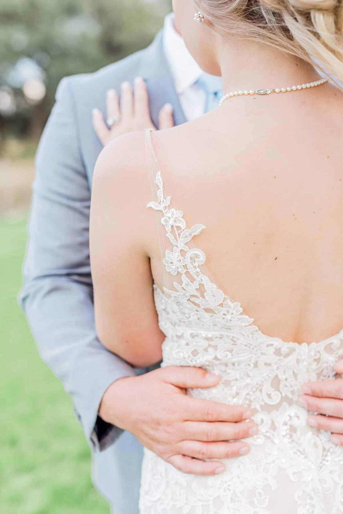Lace wedding gown at Dallas wedding