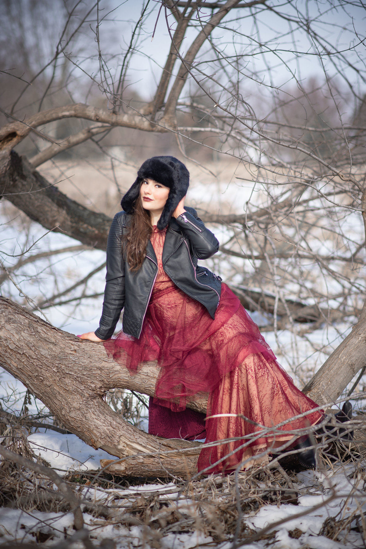 Senior Session Girl in Winter in Woods