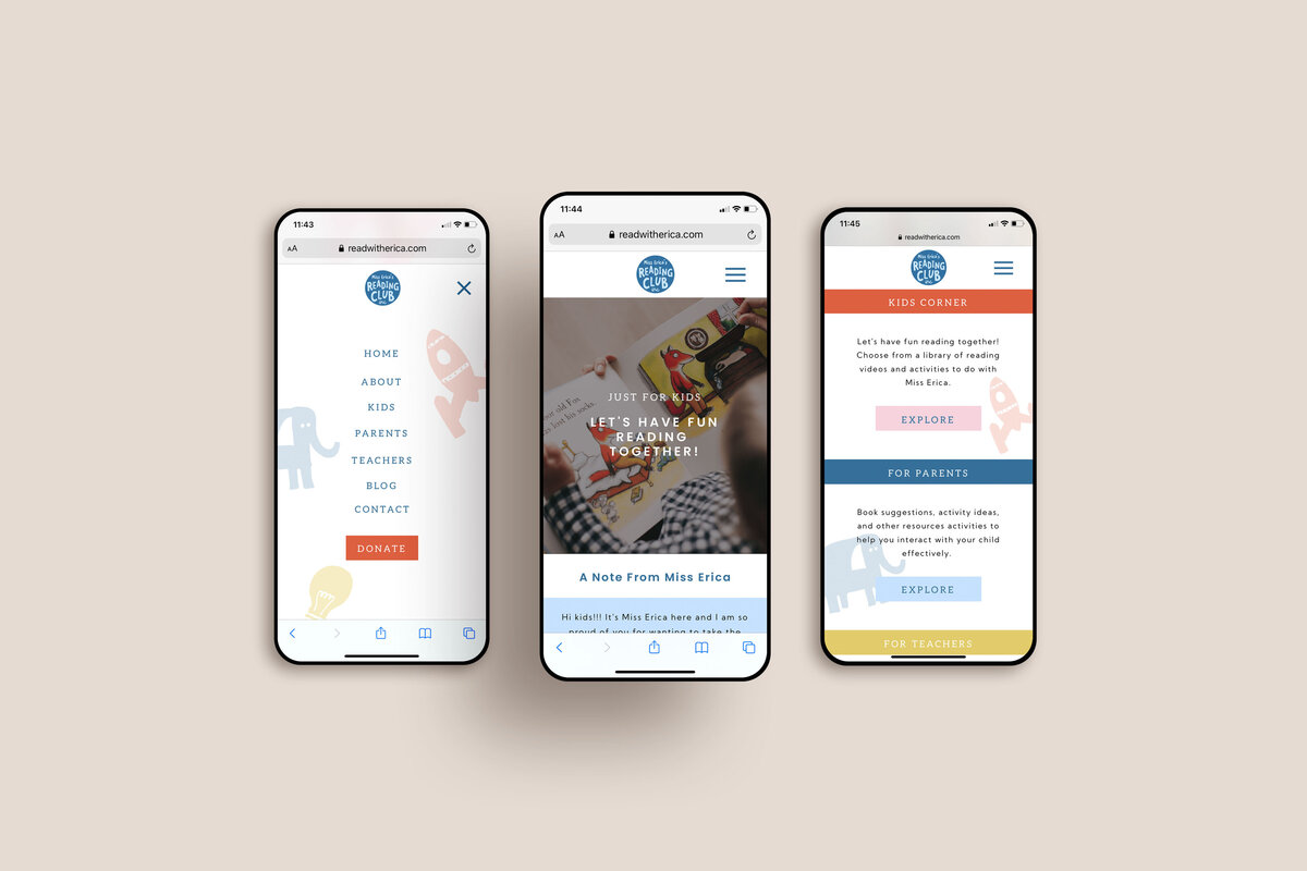 Ericas Reading Club 3 mobile mockup