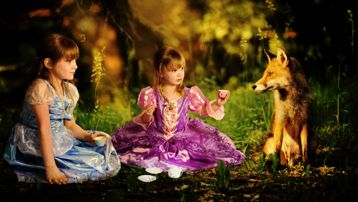 Fantasy with a fox and girls