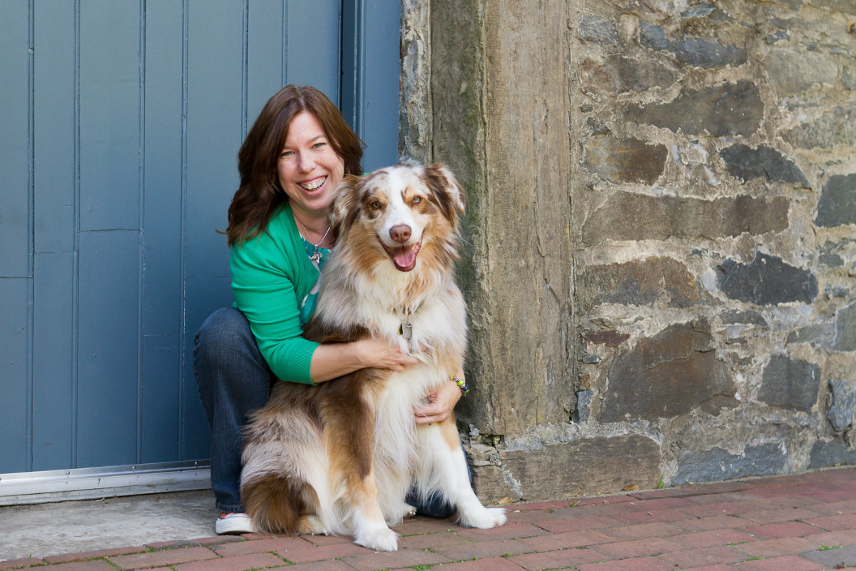 Dog and owner pose in Alexandria Virginia