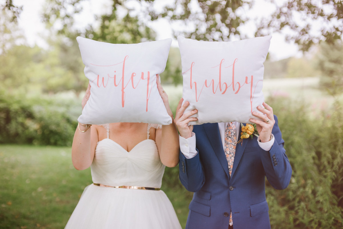 Hubby and Wifey wedding pillows