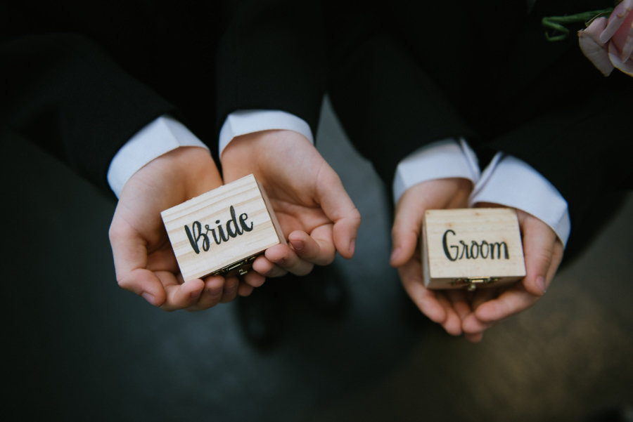 bride and groom ring box details