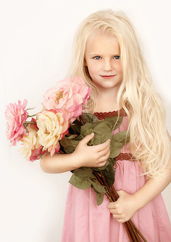 Fine Art Children's photography-girl holding flowers