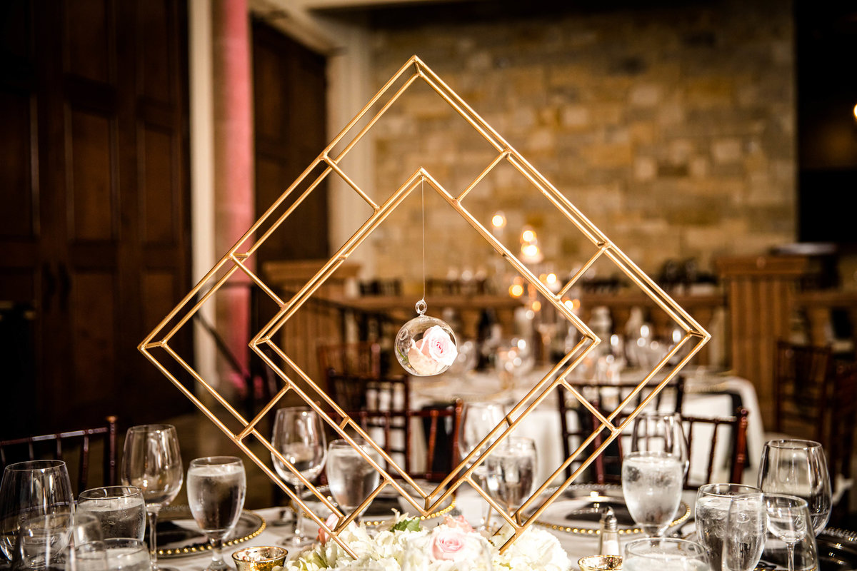 geometric gold centerpiece