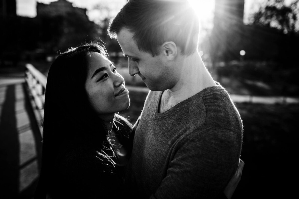 A couple hugs during a Lincoln Park engagement session.