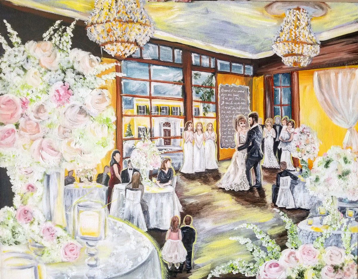 Live painting of a bride and groom sharing their first dance in the ballroom of the Mansion at Oyster Bay in Long Island New York