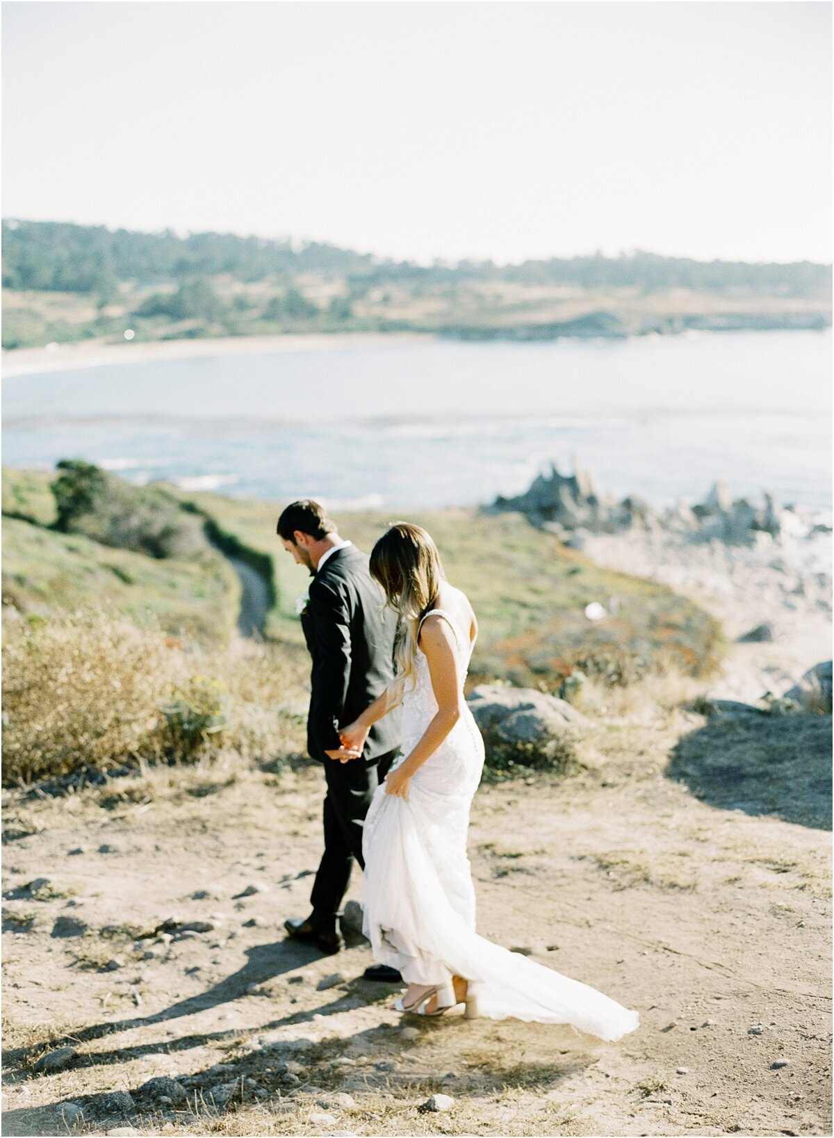 couple walking after saying I do big sur photographer
