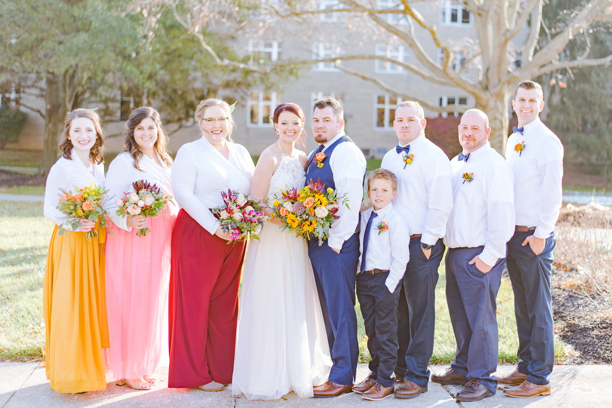 Wedding Party Portraits Wedding Brewery Cincinnati Ohio Colorful Flowers-17