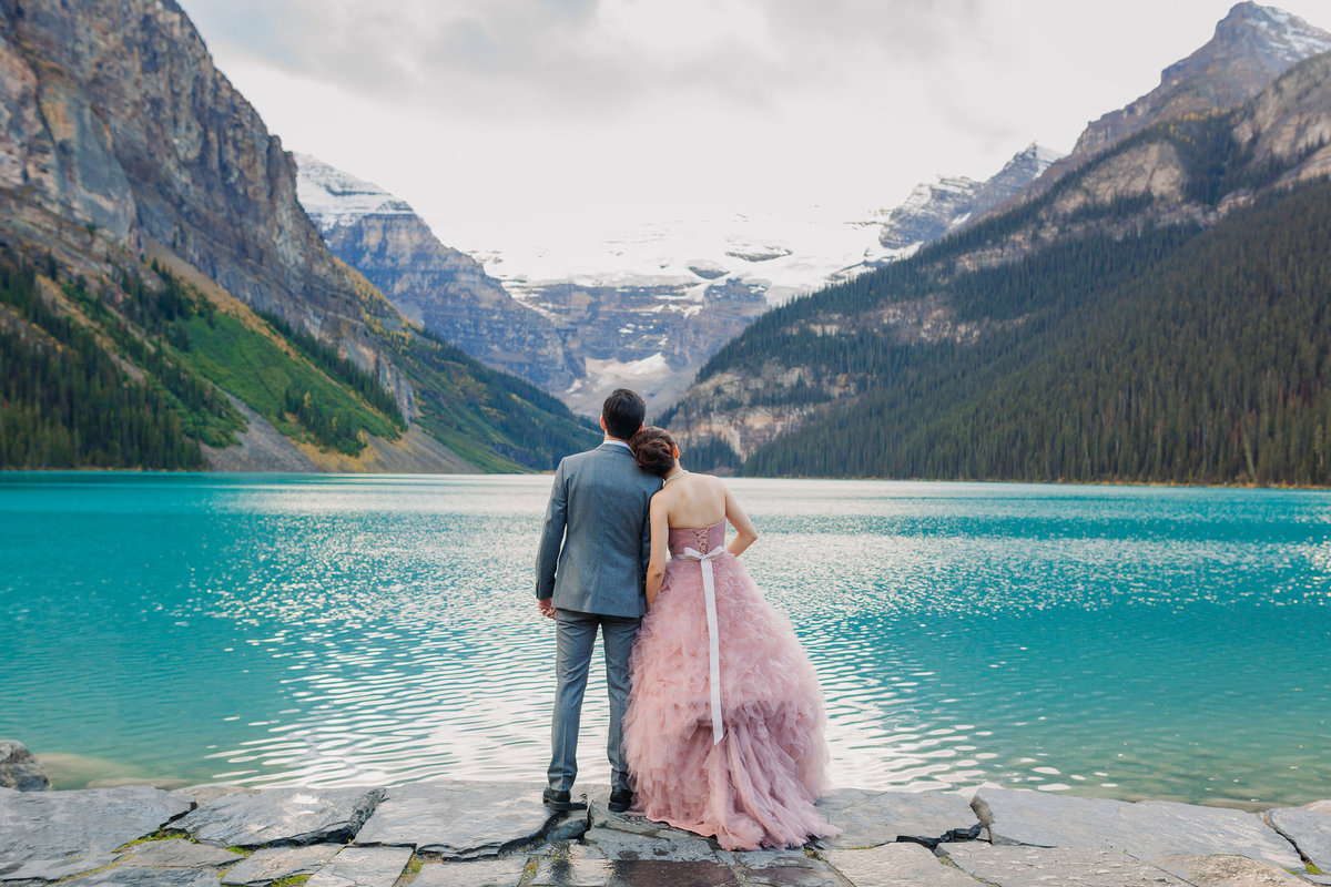 fairmont chateau lake louise intimate mountain destination wedding blush pink dress