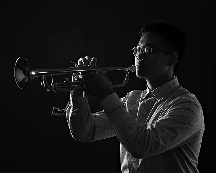 black and white band trumpet senior portraits mi
